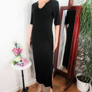 NEW! LRL Smooth Black Stretch Jersey Sheath Maxi